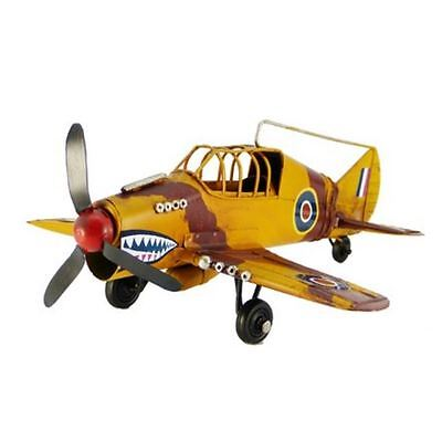 Metal Plane - Vintage Style Replica SHARK TEETH Plane - Yellow Tin 21cm Wingspan