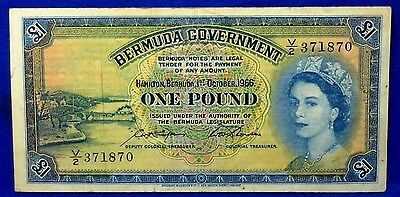 Bermuda Government 1966 1 Pound Pick# 20d Circulated Note