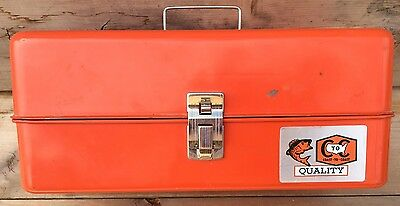 Vintage Coast To Coast Orange Metal Fishing Tackle Box