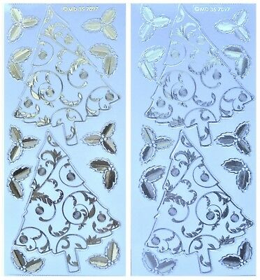 Embossed FLOURISH CHRISTMAS TREE Peel Off Stickers Holly Gold Silver on Clear