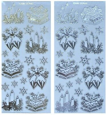 Embossed CANDLES BELLS CHRISTMAS STAR Peel Off Stickers Gold or Silver on Clear
