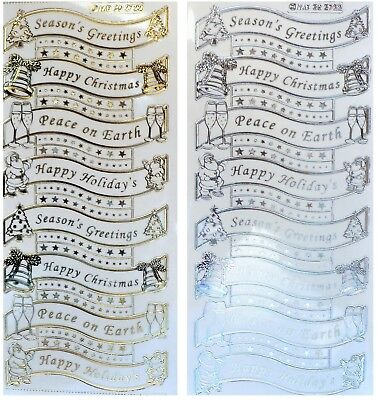 Embossed CHRISTMAS SENTIMENTS Peel Off Stickers Happy Gold or Silver on Clear