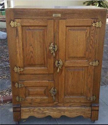 "Wow! Rare Antique "" Household "" Solid Oak Ice Box / Refrigerator / Cabinet"