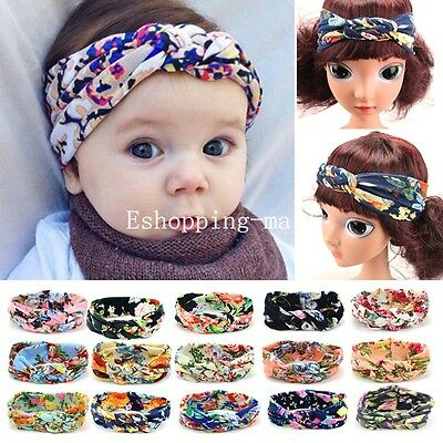 Baby Girls Kids Floral Turban Knot Twist Headband Hair Band Head Wrap Hairband