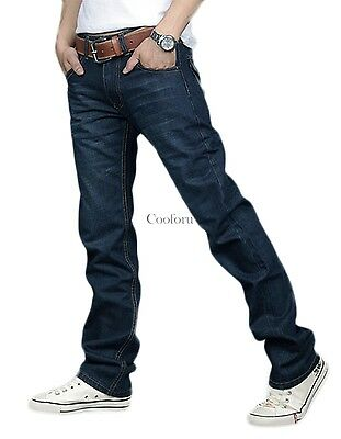 Mens Fashion Denim Blue Trousers Jeans Regular Fit Straight Leg MANY SIZES