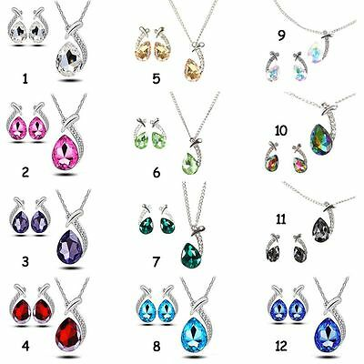 AU Women's Rhinestone Jewelry Set Crystal Necklace Earrings Bridal Party Wedding