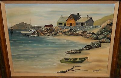 Jackie Chapprell Fishing Boats At Dock Oil On Canvas Painting Dated 1975