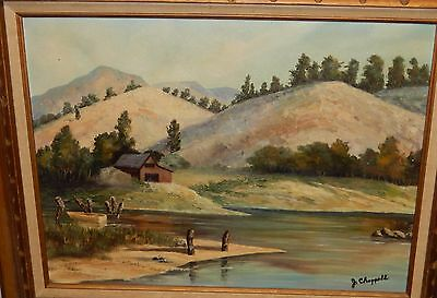 Jackie Chapprell Mountain Landscape Shack Oil On Canvas Painting Dated 1974
