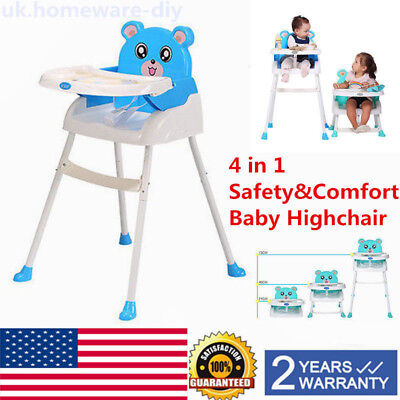 4in1 Cute Baby High Chair Portable Toddler Table Booster Seat Feeding Highchair