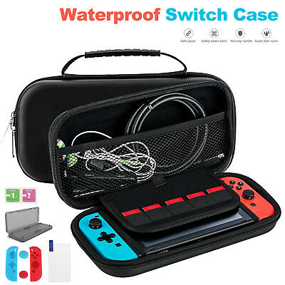 6in1 Nintendo Switch Hard Carrying Carry Case Bag +SCREEN Film + Silicone Case