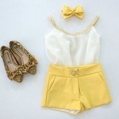 AU 2PCS Toddler Baby Kids Girls Summer Chiffon Tank Tops&Short Pants Set Outfits