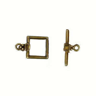 Square Design Antique Brass Metal Jewellery Toggle Clasp 17mm (P17/6)