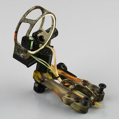 "Camouflage Compound Bow Sight 5 Pin 0.019"" Fiber Optic Bowsight With Led Light"