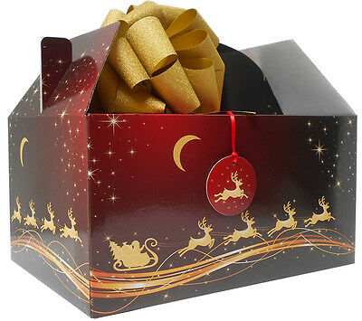 GIANT XMAS GABLE BOX GIFT KIT - Box, Tissue Paper, Bow & Tag - RED GOLD REINDEER