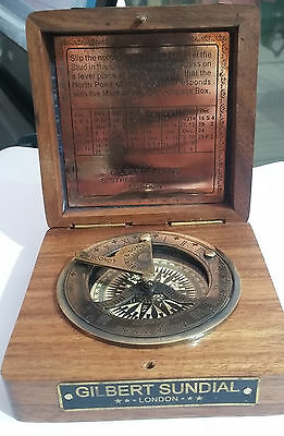"ANTIQUE STYLED-NAUTICAL 3.5"" SUNDIAL COMPASS-SOLID BRASS ROSEWOOD BOX Gilbert ZI"