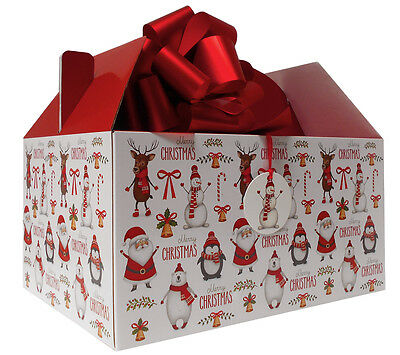 GIANT XMAS GABLE BOX GIFT KIT - Box, Tissue, Bow & Tag - SANTA SNOWMAN RUDOLPH