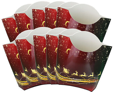 10 x RED & GOLD REINDEER POP UP GIFT BOXES - Xmas Gift Box Christmas Hamper