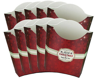 10 x MERRY CHRISTMAS POP UP GIFT BOXES - Red Xmas Gift Box Christmas Hamper
