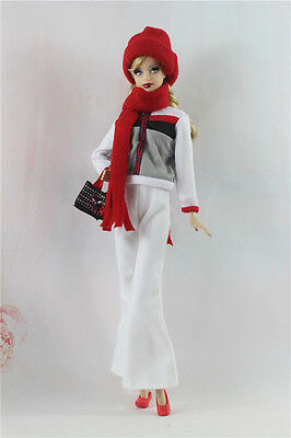 6in1 Set Jacket+Pants+Scarf+Cap+Shoes+Bag FOR 11.5in.Doll Clothes Girl Gift