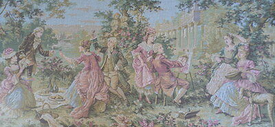French Vintage / Antique large tapestry 95 x 47 cm Artist Dog & Picnic  scenes