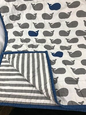 Land of Nod Crib Quilt Baby Blanket Nursery whales blue gray white