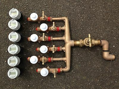 EBCO 6-Port Water Distribution Manifold+Smart Meter+Valves Gunmetal Boundary Box