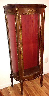 Cabinet French Vitrine Serpentine Metal Filigree Decoration Louis XV Style Curio