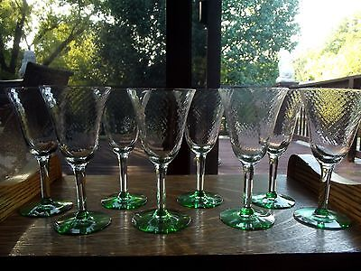 "Set (8) Water Wine Glasses Goblets 6.75"" green base clear optic Tiffin? art deco"