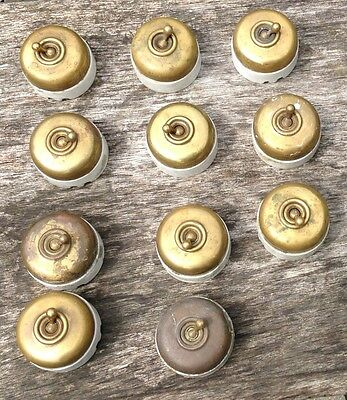 10 French LUX Antique Brass & Ceramic Toggle Dolly Switches Plus Extra