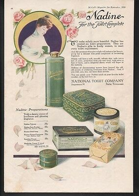 1920 Nadine Soap Fashion Rouge Compact Rose Box Tin Paris Tennessee Ad19567