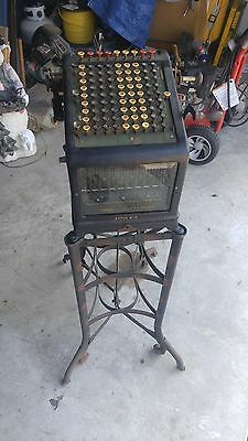 Antique Burroughs No 9 Adding Machine W/ Toledo Steel Stand-Steampunk-Industrial