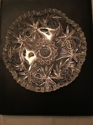 Crystal Cut Glass Candy Dish Vintage / Antique, 6 inch Round Pinwheels