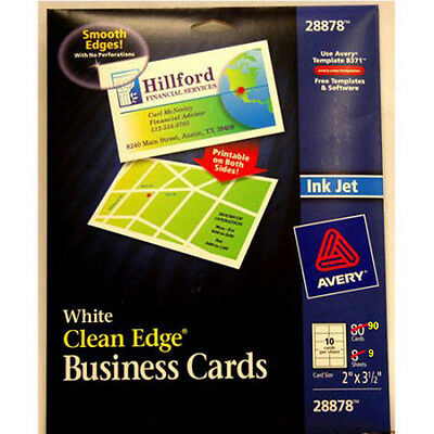 2 PACKS, New Avery White Clean Edge Business Card - 28878 Ink Jet 90 Cards ea.
