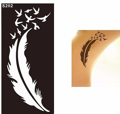 Feather Birds Henna Tattoo Stencils Templates for Body Art Painting Hands Legs