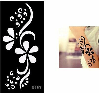 Flower Daisy Henna Tattoo Stencils Templates for Body Art Painting Hands Legs