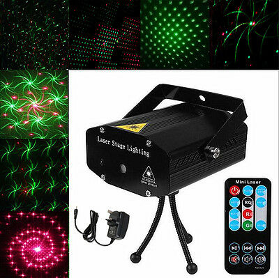Red Green Mini LED Stage Laser Light Projector Strobe 4 Patterns DJ Disco Party