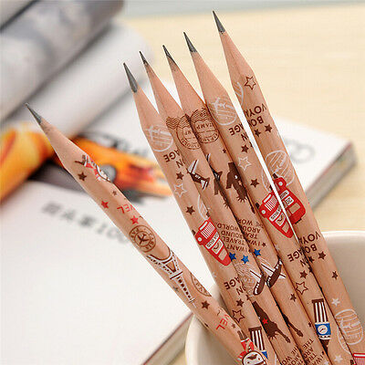 12 pcs Cute Pencil Bon Voyage HB School Novelty Writing Wooden Pencil Kids nb