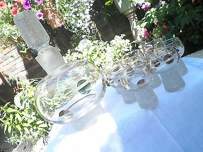 Fabulous 1960's retro original Glass decanter and 8 small / shot glasses Vintage