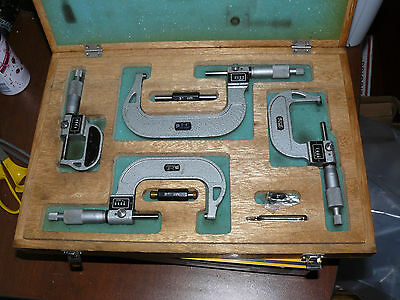 NSK DIGITAL COUNTER Outside OD Micrometer 0-4 Inch Set 552-201 Vintage Japan