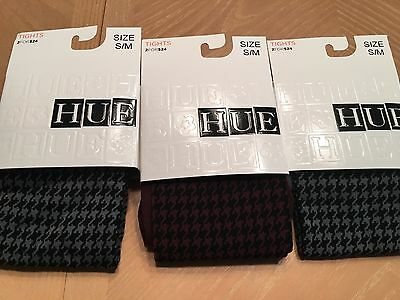 (3) HUE Womens Houndstooth Tights Size S/M