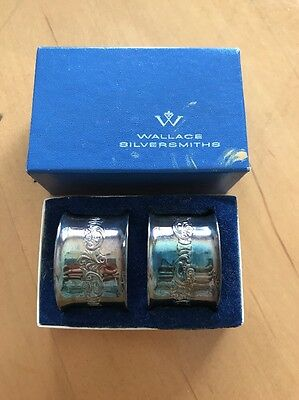 2 Vintage Baroque By Wallace Silver Plated Napkin Rings In Box