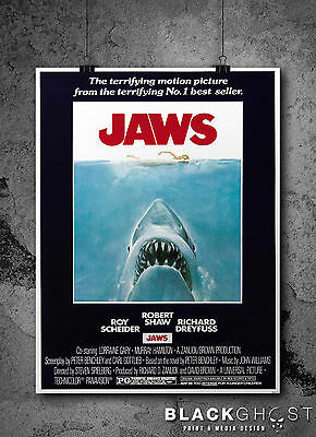 A3 and A4 size Jaws Poster - Jaws 1975 Shark Horror Classic Movie Print
