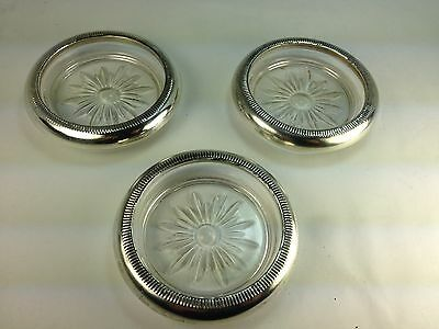 Vintage Crown Co  Sterling Silver & Glass 3 Coasters