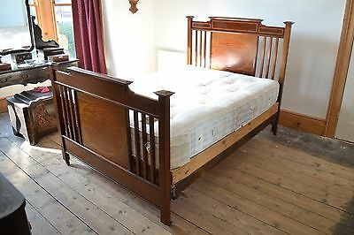 Antique Edwardian Double Bed Ornate Inlay Mahogany Satin Wood