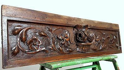 SOLID HAND CARVED WOOD PANEL ANTIQUE FRENCH FLOWER GRIFFIN SALVAGED CARVING 19th
