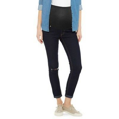 Oh Mamma Maternity Full Panel Destructed Skinny Boyfriend Crop Jeans, Rinse, M
