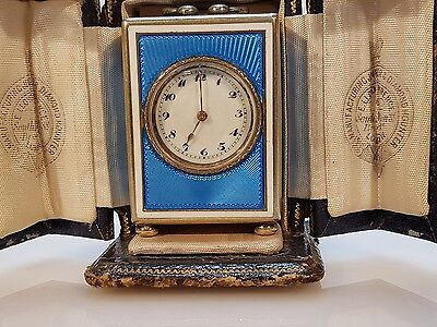 Rare Miniature Blue Enamel Swiss Carriage Clock with Case