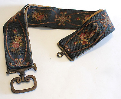 """Antique Bell Pull Needlepoint 72"""" Long Brass Ring & Pull Blue Floral"""