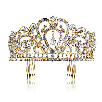 PIXNOR Gold Princess Crown Wedding Tiara Comb Rhinestones Crystal Bridal Pageant