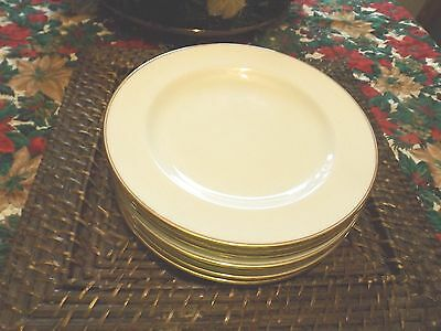 "Vintage Cauldon China England Gold Trim White 8"" Salad Plates (7)"